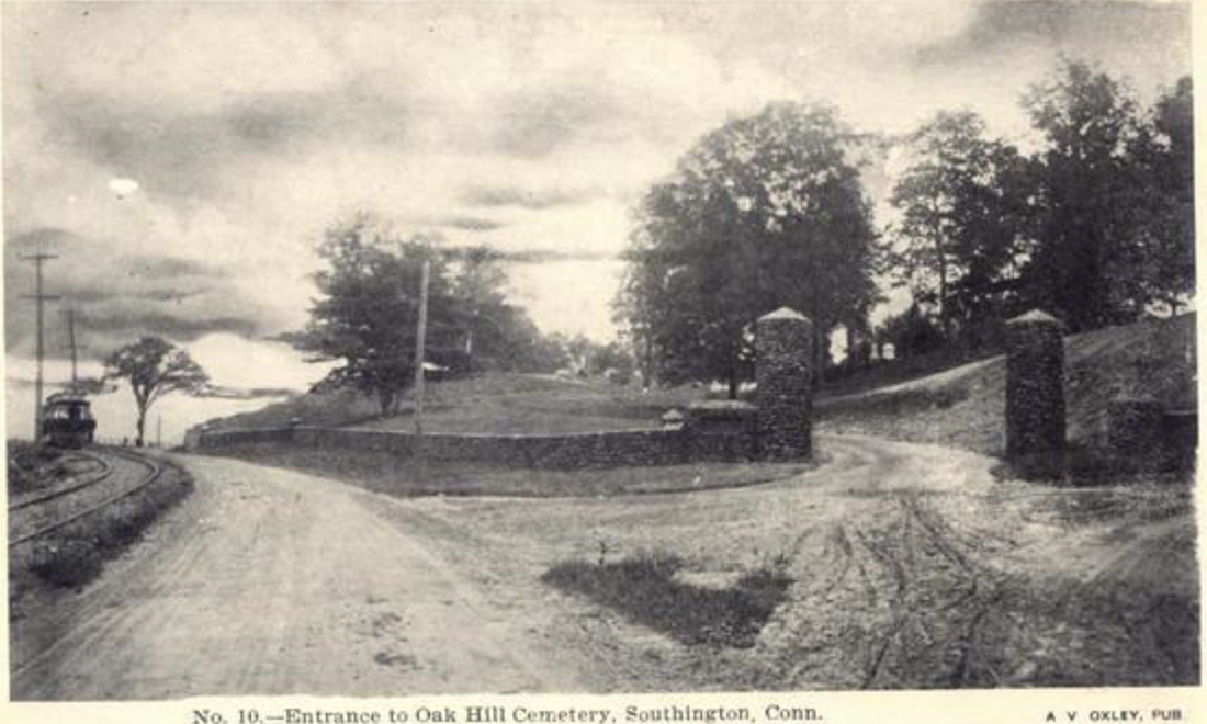 Historic photo of entrance to Oak Hill Cemetery in Southington, CT
